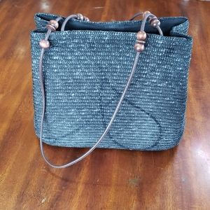 St Johns Bay Wicker Black Woven Hand Bag Leather